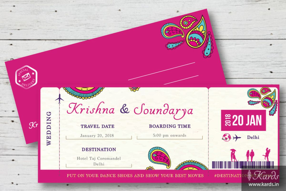 Boarding Pass With Indian Twist Indian Wedding Invitation Card