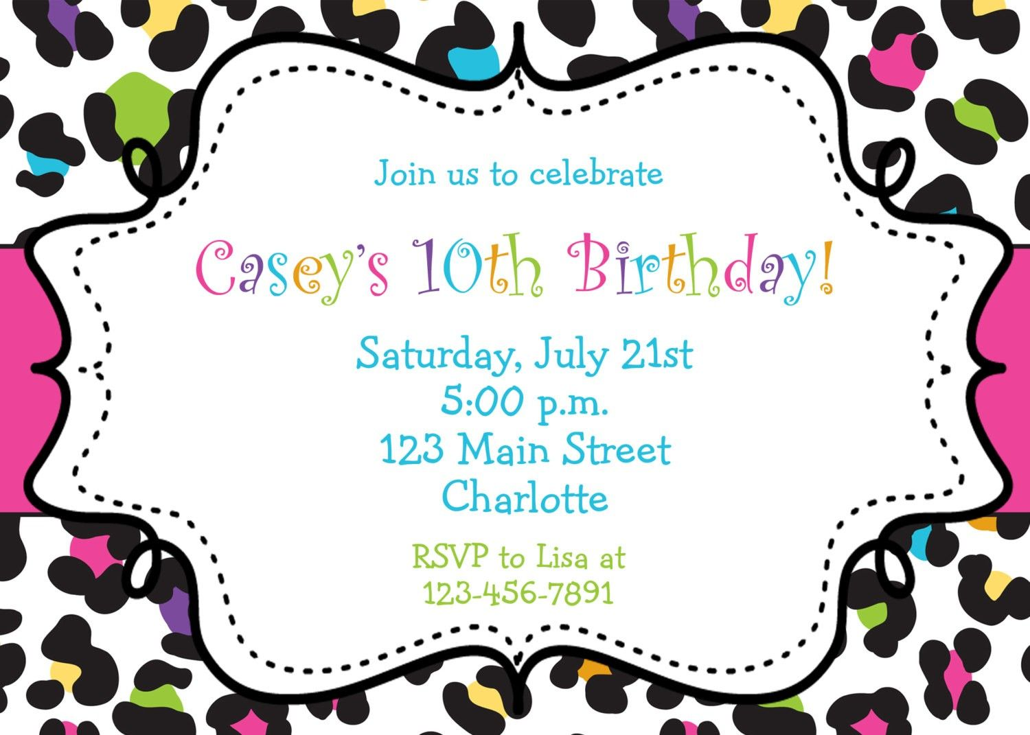 Free Printable Birthday Party Invitations For Tween Girls | maria ...