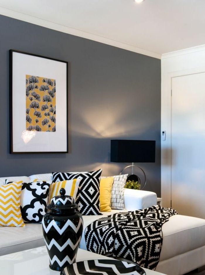 1001 variantes de salon gris et jaune pour vous inspirer l 39 essayer salons gris gris jaune. Black Bedroom Furniture Sets. Home Design Ideas