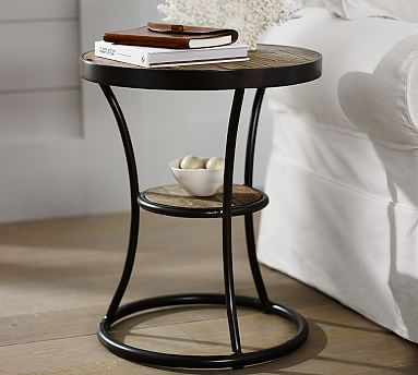 Bartlett Reclaimed Wood Metal Side Table Potterybarn
