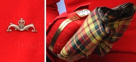 Kate's accessories for the Thames River Jubilee during the Queen's Diamond Jubilee. The Duchess of Cambridge clutched a small red bag and Strathearn tartan scarf.