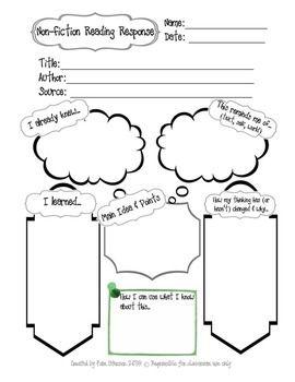 ~Non-Fiction Reading Response Worksheet~ This worksheet