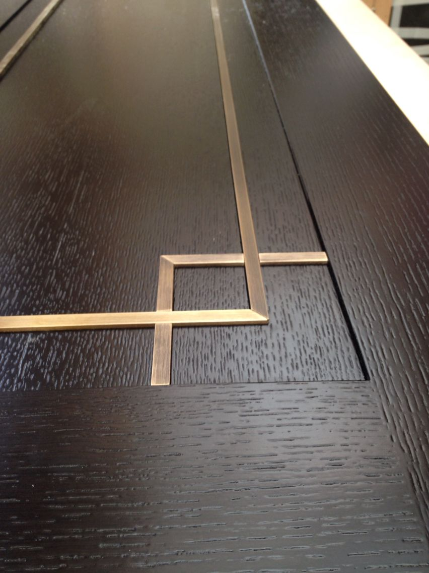 Stained Oak Doors Brass Inlays Brass Details Pinterest