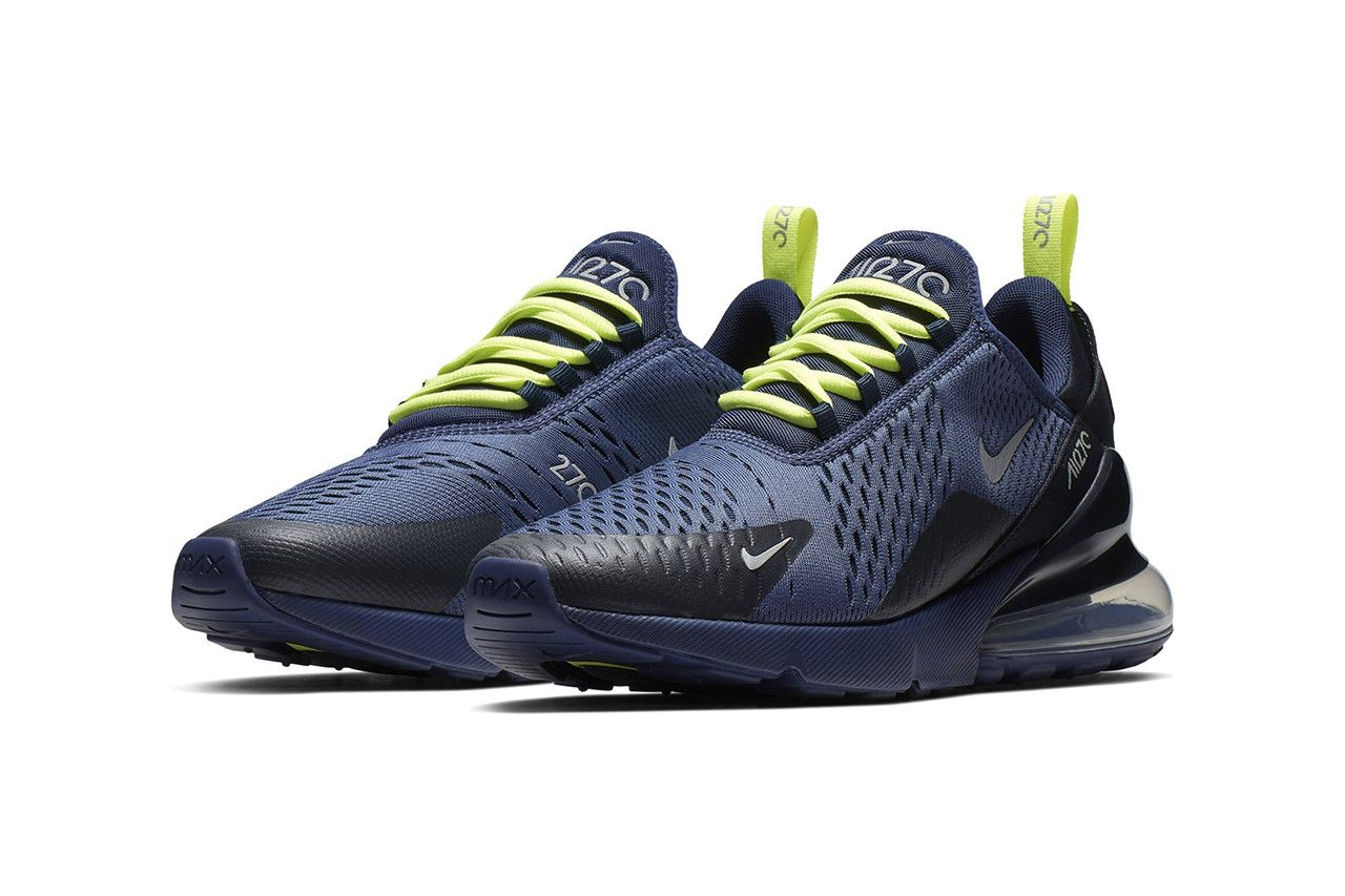 sports shoes 665e2 56b3f Nike Air Max 270 SS19 Grey Neon Navy Neon Colorways Drop Release First Look