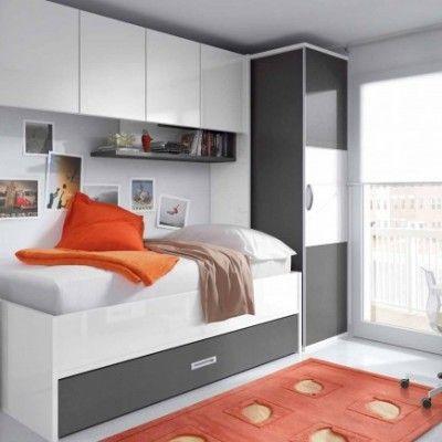 Habitacion juvenil blanca gris habitaciones pinterest for Habitacion puente juvenil