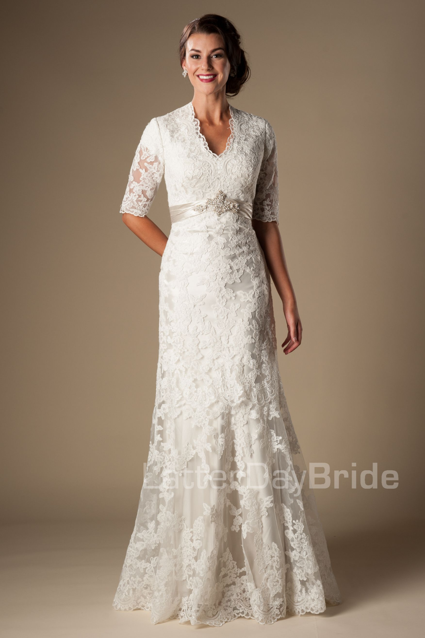 This Modest Wedding Dress Redefines Class. With Beautiful Illusion Lace  Sleeves And A Queen Anne Neckline And Delicate Empire Beaded Waistband, ...