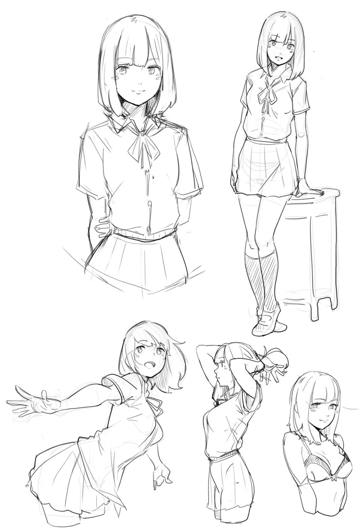 Pin Oleh Otaba Di 3d Girl Cara Menggambar Referensi Gambar Sketsa