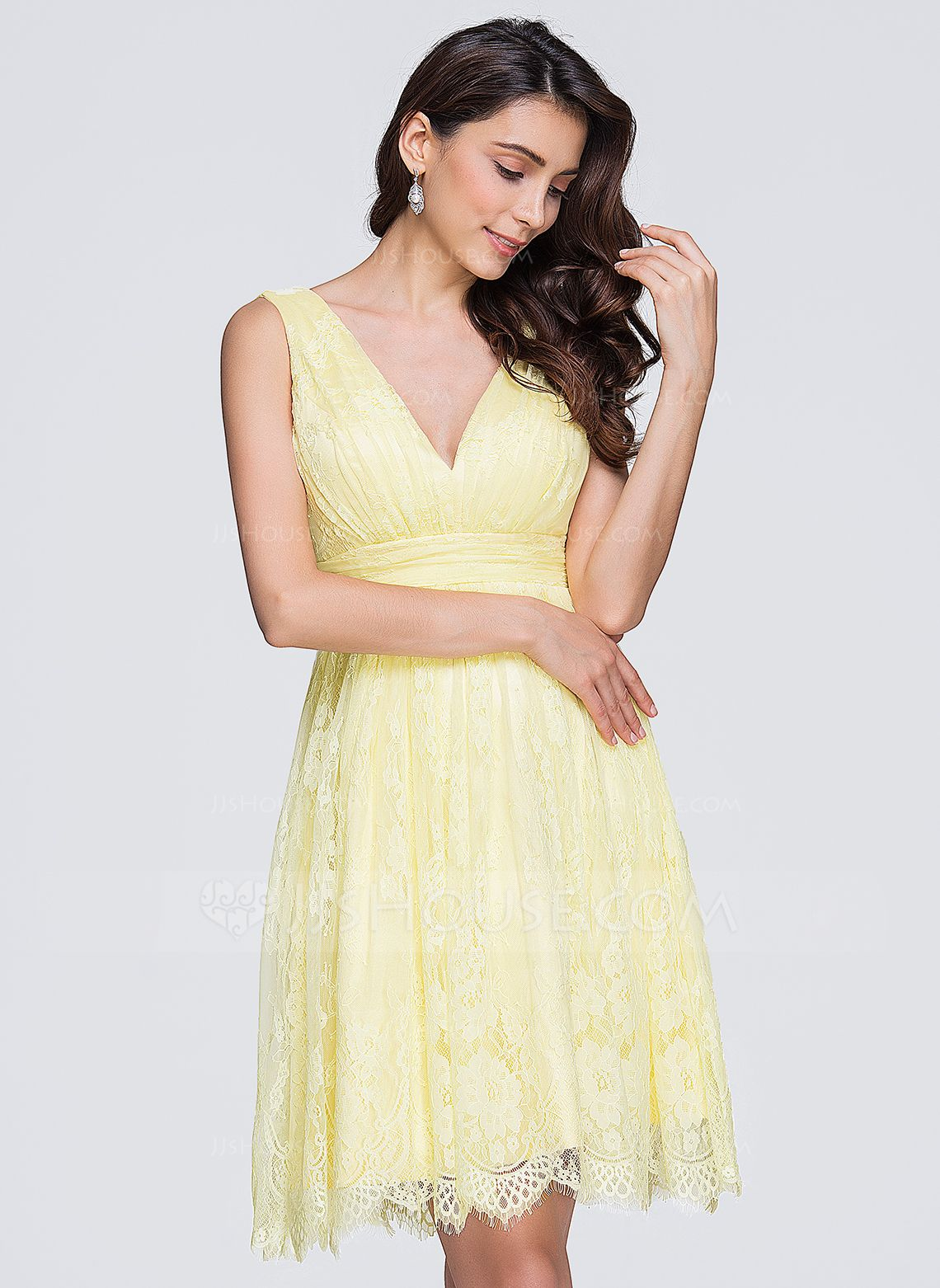 Yellow dress wedding guest  ALinePrincess Vneck KneeLength Ruffle Zipper Up Regular Straps