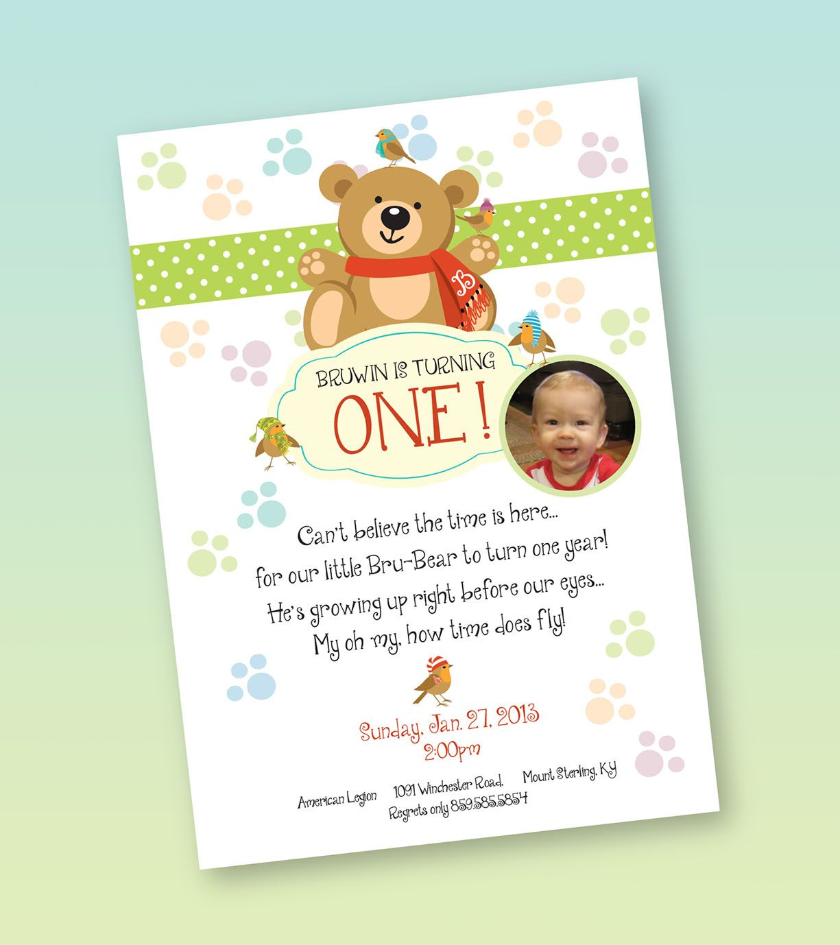 One year old boy birthday invitation - winter/teddy bear theme ...