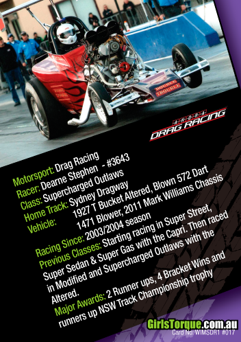 Australian Women in Motorsport Collector/Swap/Trading Card Series  Dearne Stephen - Drag racer