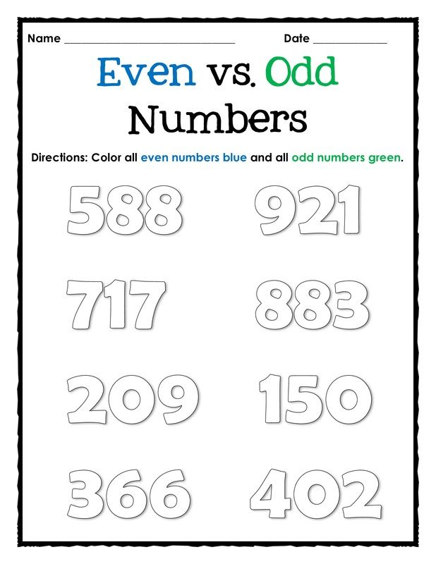 Even and Odd Number Worksheets, Assessment and Activities