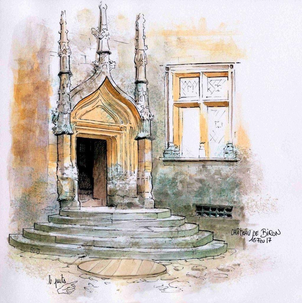 Catherine Gout Watercolor Landscape Building Illustration