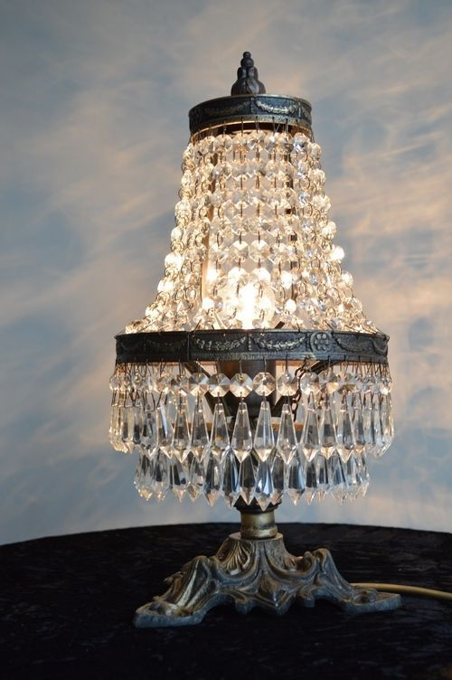 Aged Brass Table Lamp Antique French Style Glass Crystal Chandelier Lighting
