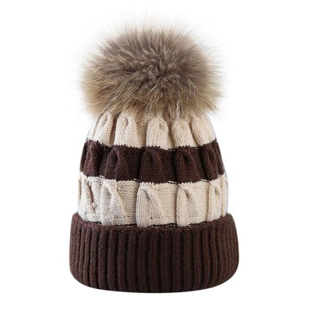 dc3653a85 Fur Ball Cap Winter Hat Women Hat Fight Color Knitted Beanies Cap ...