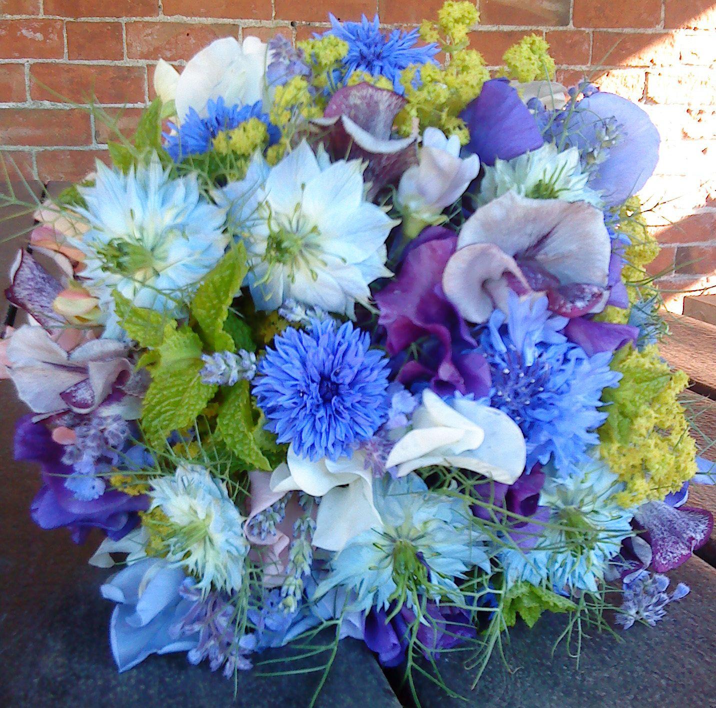 Vermont Wedding Flowers: Cornflower And Nigella Bouquet - Catkin