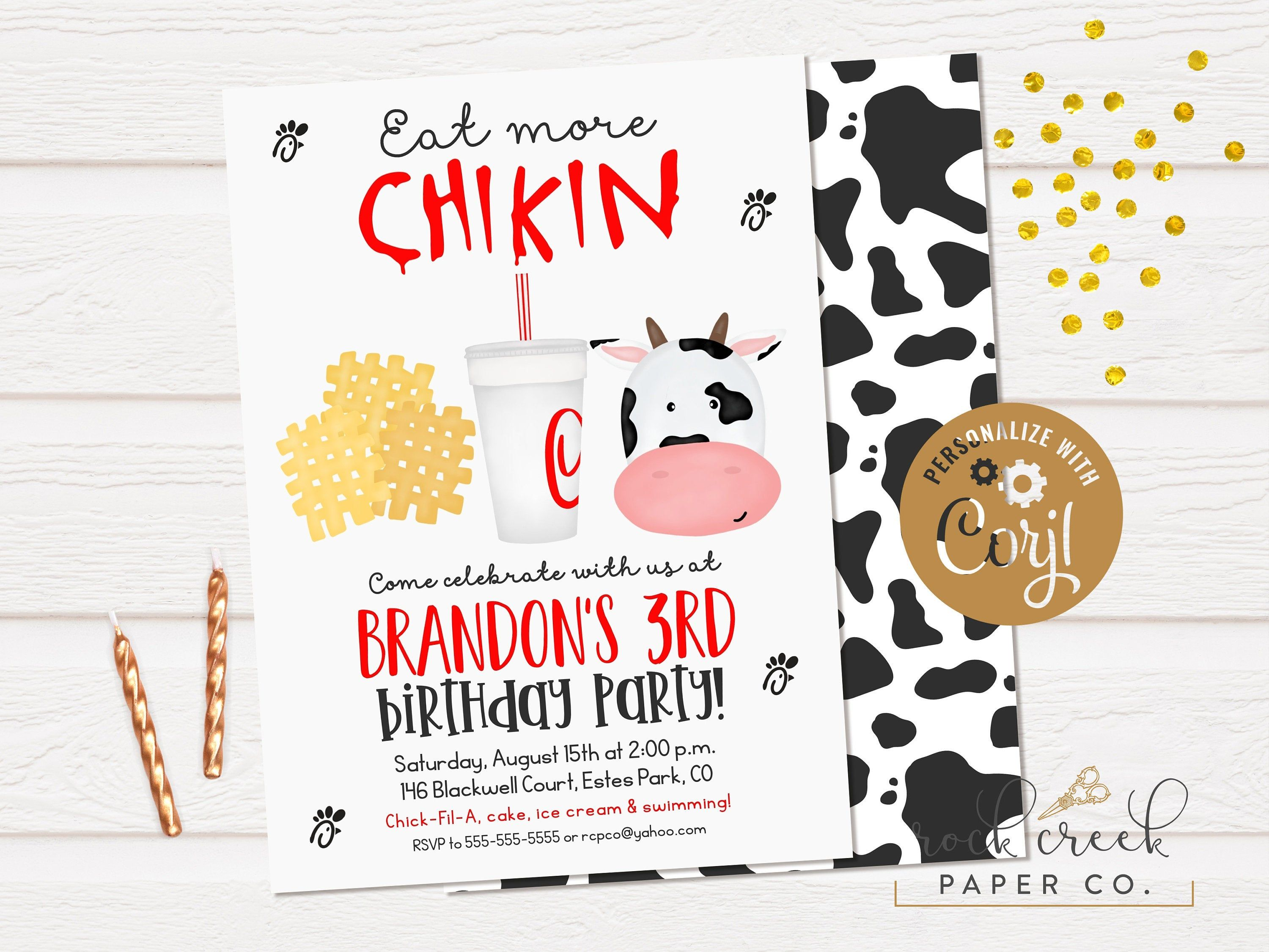 Eat More Chicken Birthday Invitation, ChickFilA Party