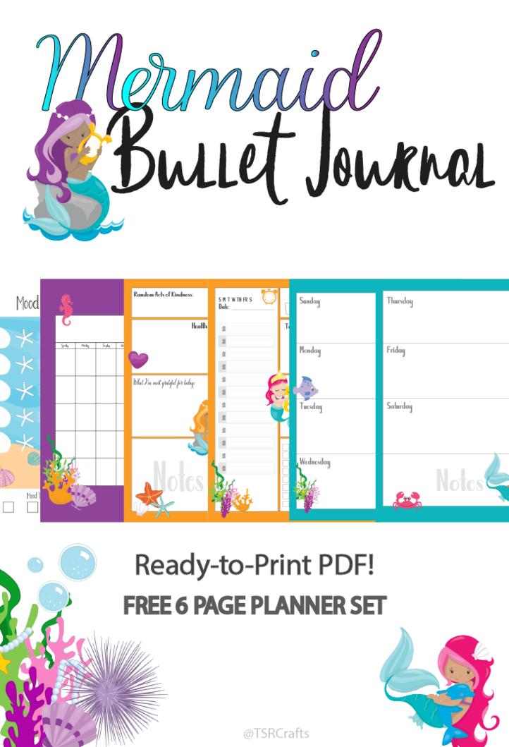 free printable mermaid planner free 6 page mermaid bujo