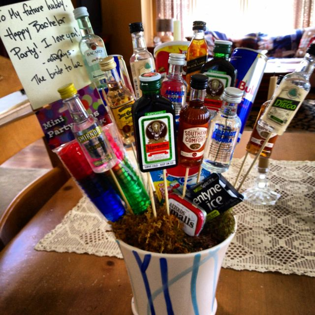 Booze bouquet for my fiancé for his bachelor party!! | Bronze ...