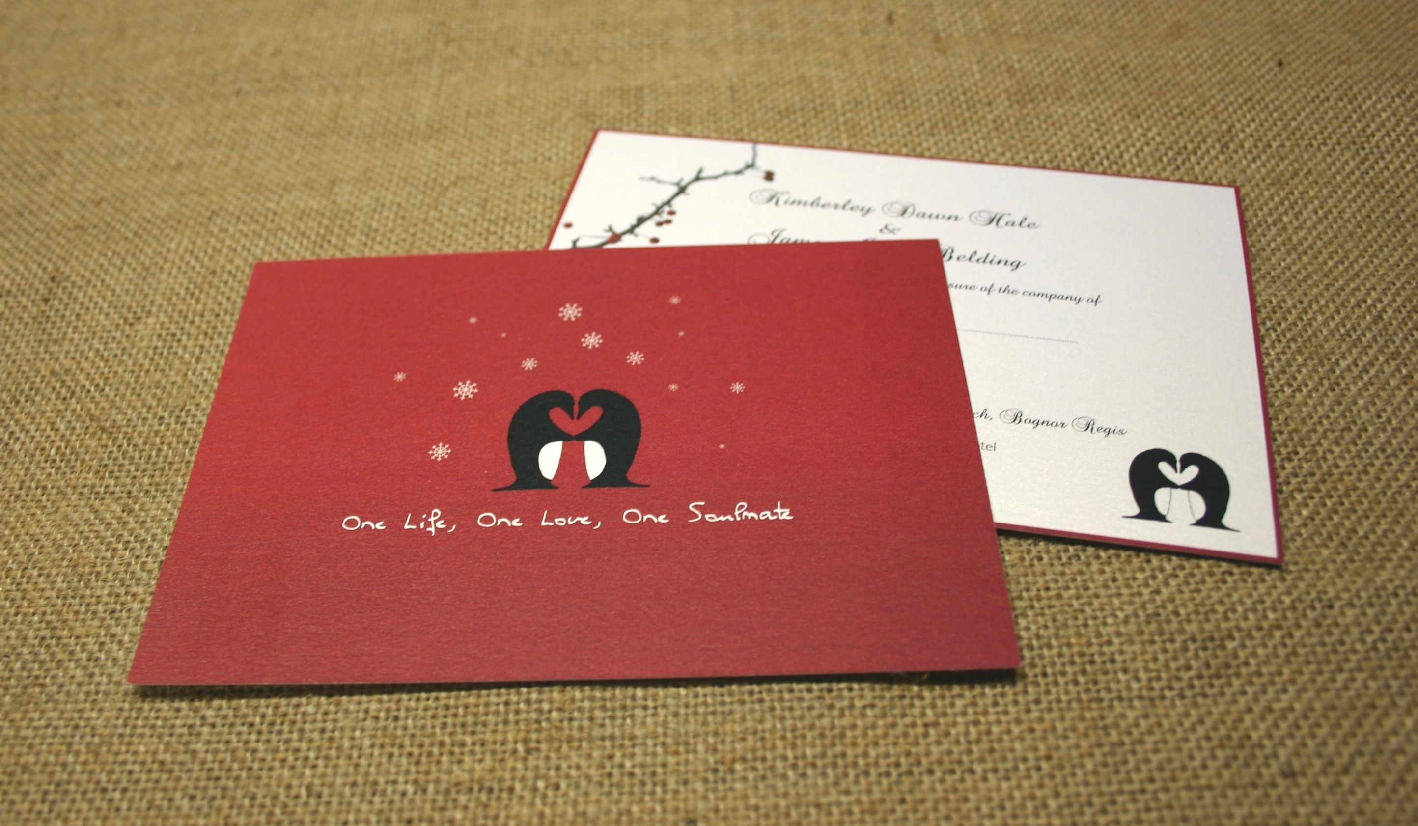 www.theweddingprintshop.co.uk Christmas themed wedding stationery ...