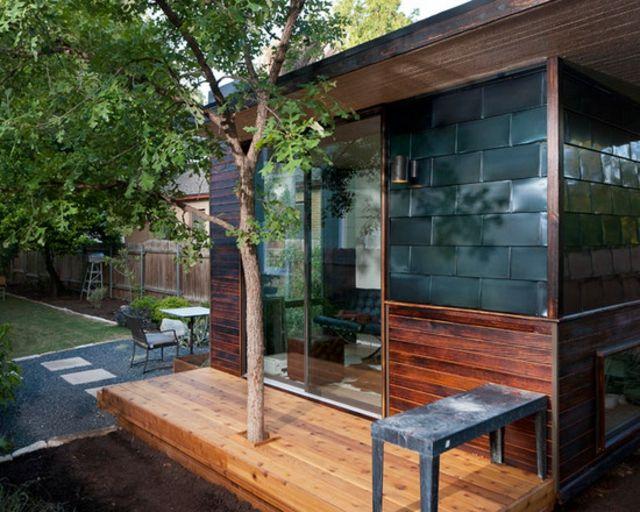 Moderne Gartenhütte Stilvolle Fassade Isolation