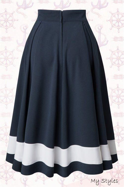 50s Petra Sailor Swing Skirt in Navy #cute #outfits #for #highschool