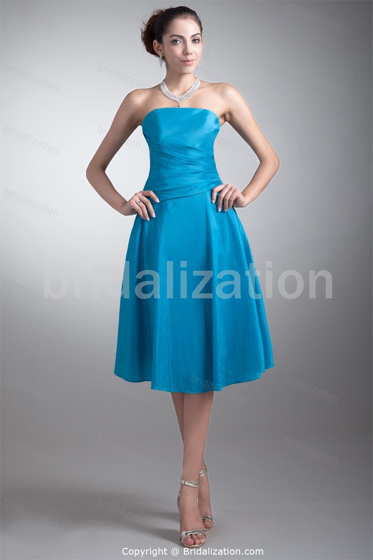 Blue Graduation Tea-Length Taffeta Strapless Special Occasion Dresses