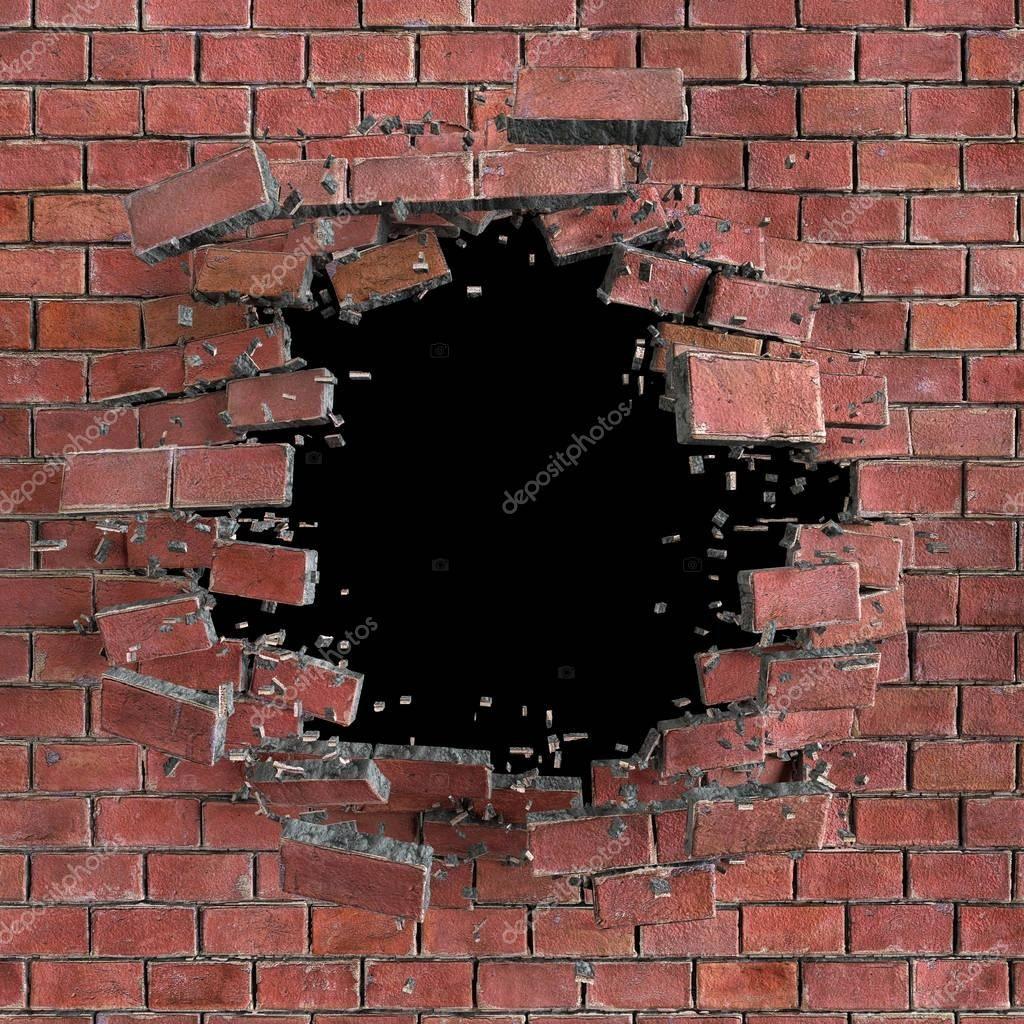 3d render, digital illustration, abstract broken brick