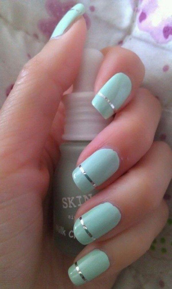 sencillo diseño uñas color menta | Uñas | Pinterest | Color menta ...