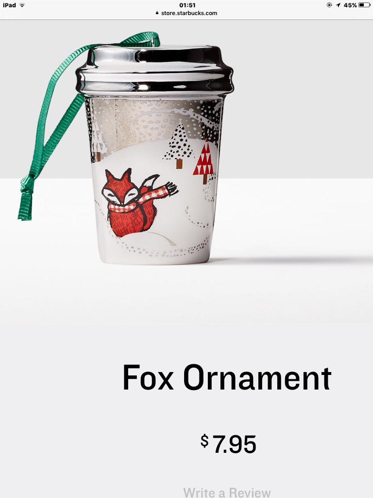 Starbucks Christmas Ornaments 2019.Fox Ornament 2016 Starbucks Collection In 2019 Starbucks