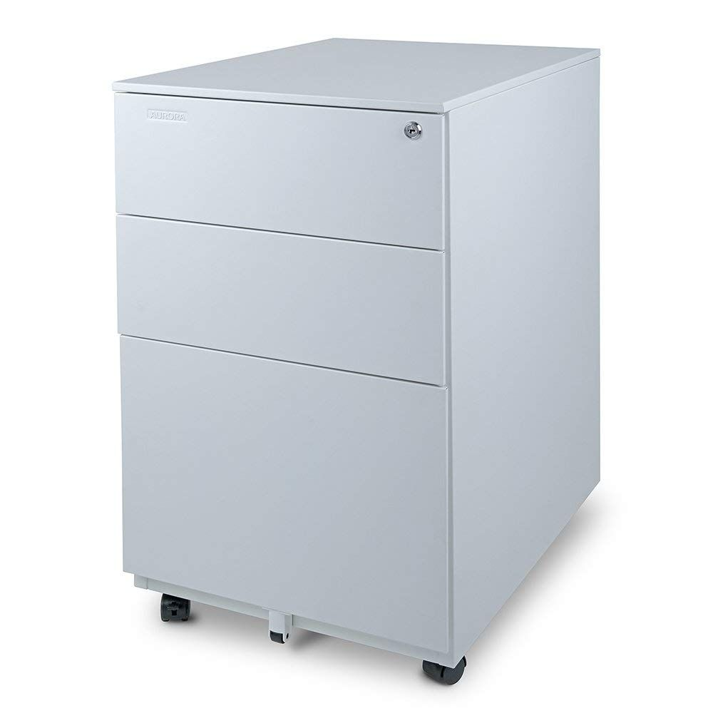 3 Drawer Metal Mobile File Cabinet With Lock Key Fully