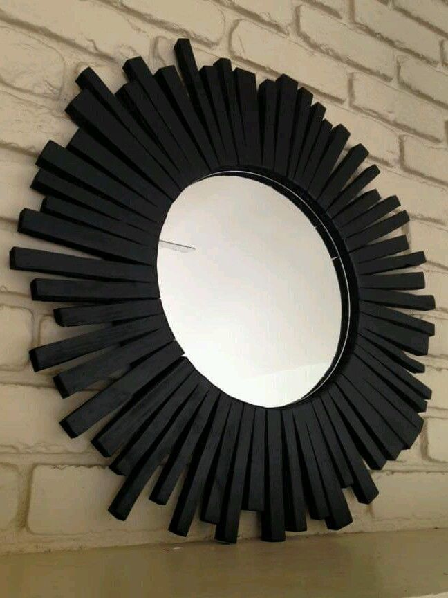 Sunburst Wall Mirror Wood Frame Black Handmade Modern 30 Handmade Modern Wood Framed Mirror Wood Wall Mirror Handmade Modern