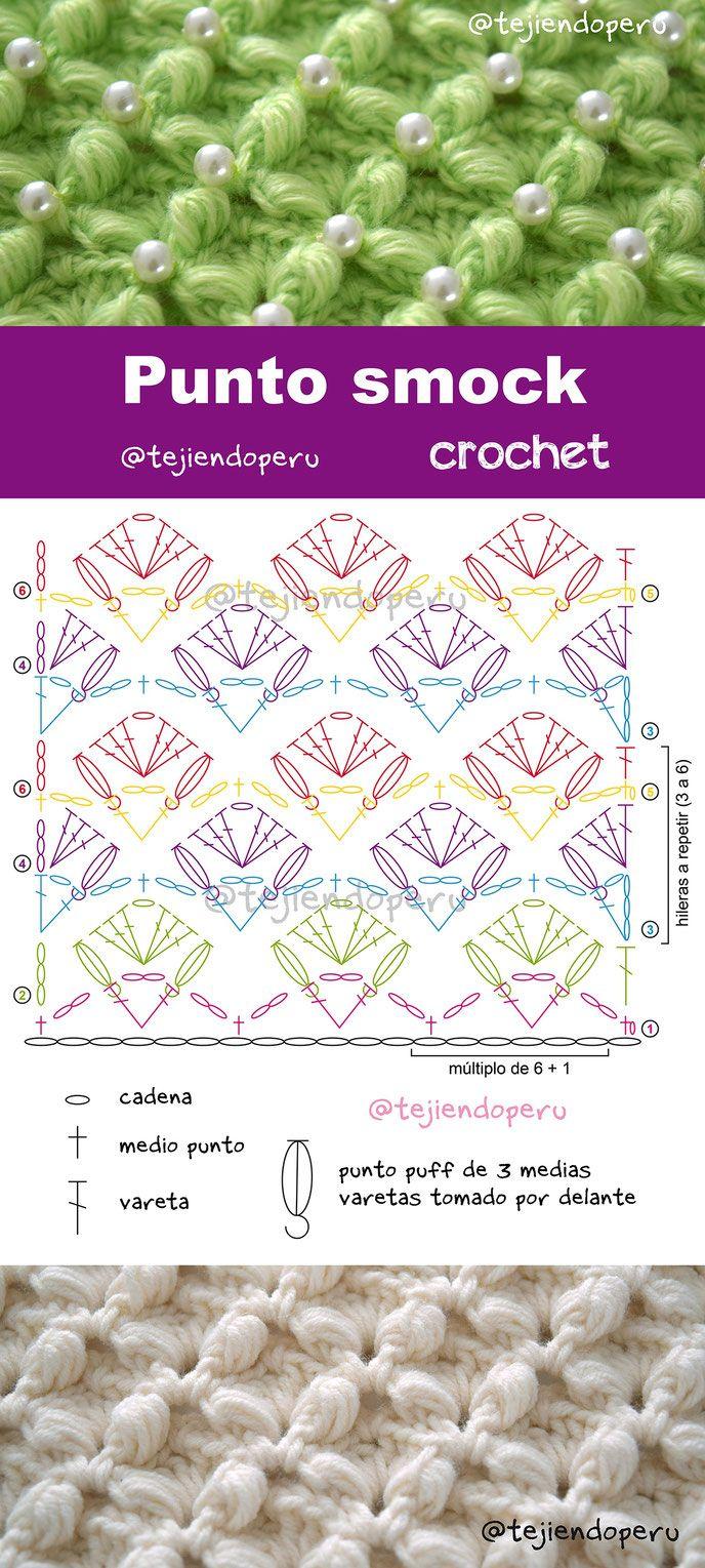 Punto smock tejido a crochet | ganchillo | Pinterest | Tejido ...