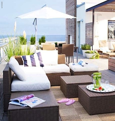 ikea patio terrace design lounge furniture wicker lounges stools
