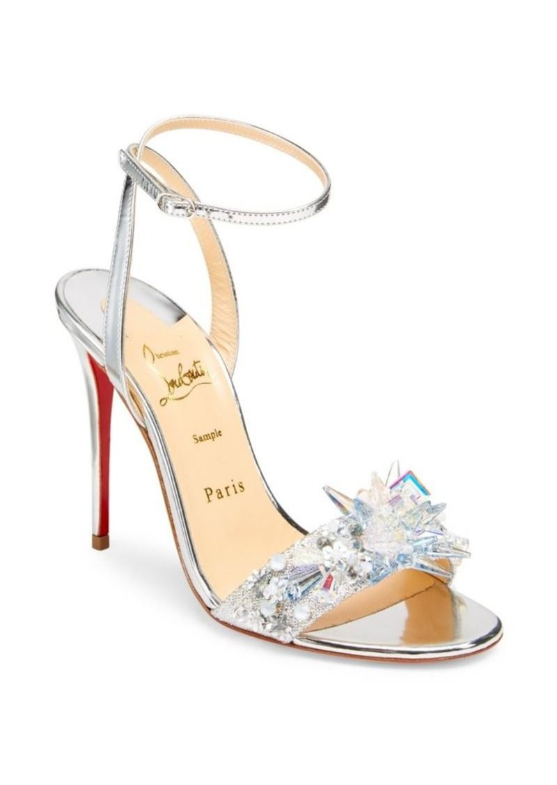 54a6597c9bb Christian Louboutin Oxydock 100 Metallic Crystal Sandals