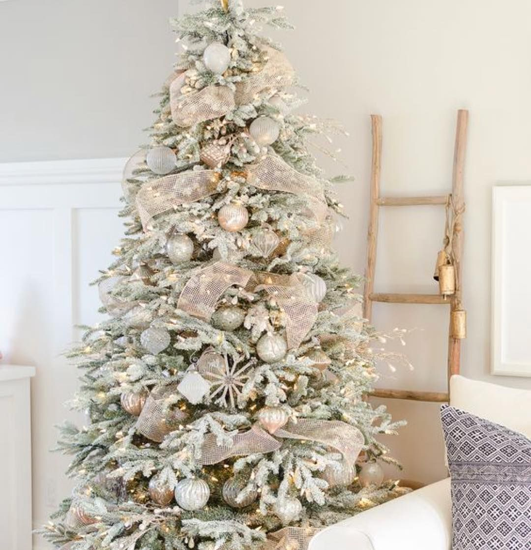 Christmas Tree Decorated In Soft Pastel Colors Flocked Christmas Trees Decorated Gold Christmas Tree Decorations Flocked Christmas Trees