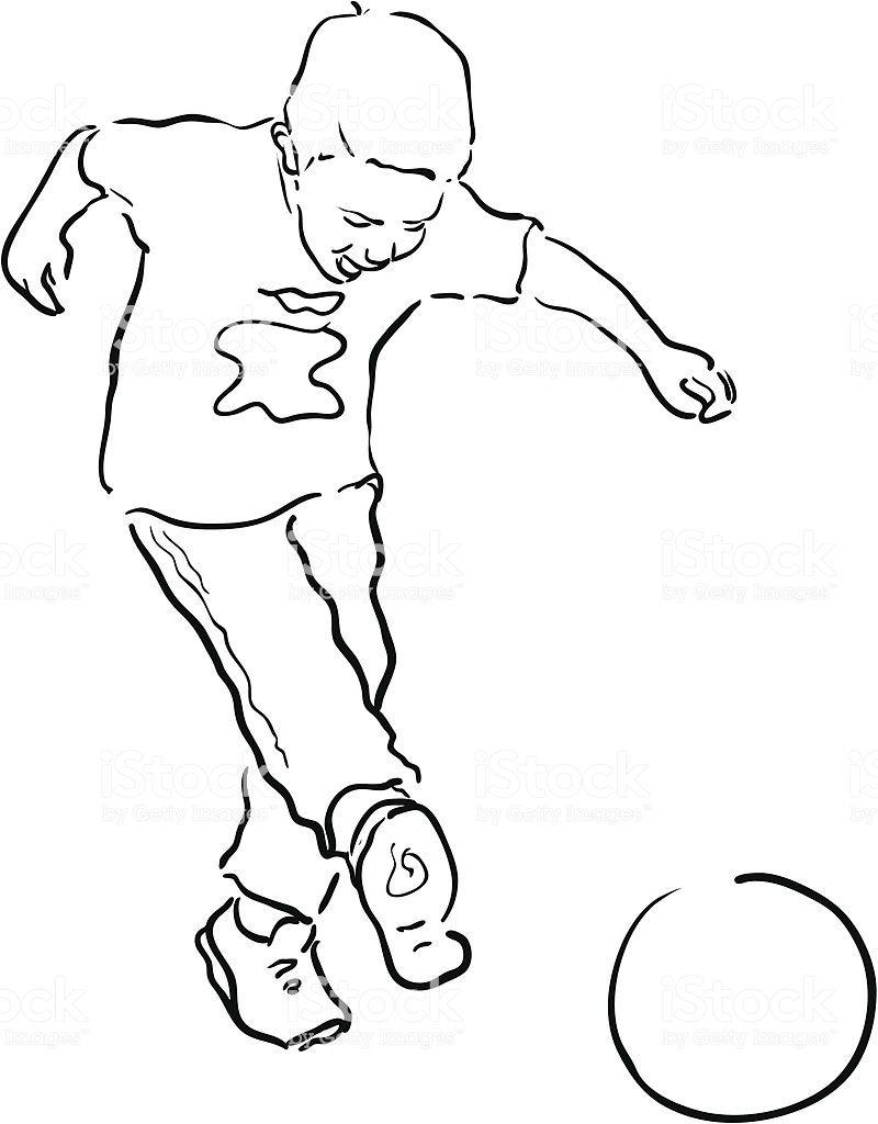 Giovane Ragazzo Giocando A Calcio Linea Disegno Giovane Ragazzo Giocando A Calcio Linea Disegno Immagini Vettoriali Stock E Altre Imm Disegni Immagini Calcio