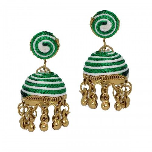 Thread #Earrings Small Green color #Jhumki for Girls @eindiawholesale #TraditionalEarrings #OxidisedEarrings #ThreadJhumkiEarrings #MeenakariEarrings #wholesale & #Reselling Please Whatsapp at +91-7339903357