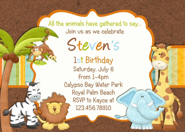 animal themed birthday party invitation