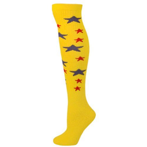 AJs Star Knee Socks  Lemon Yellow Blue RedM *** To view further for this item, visit the image link.