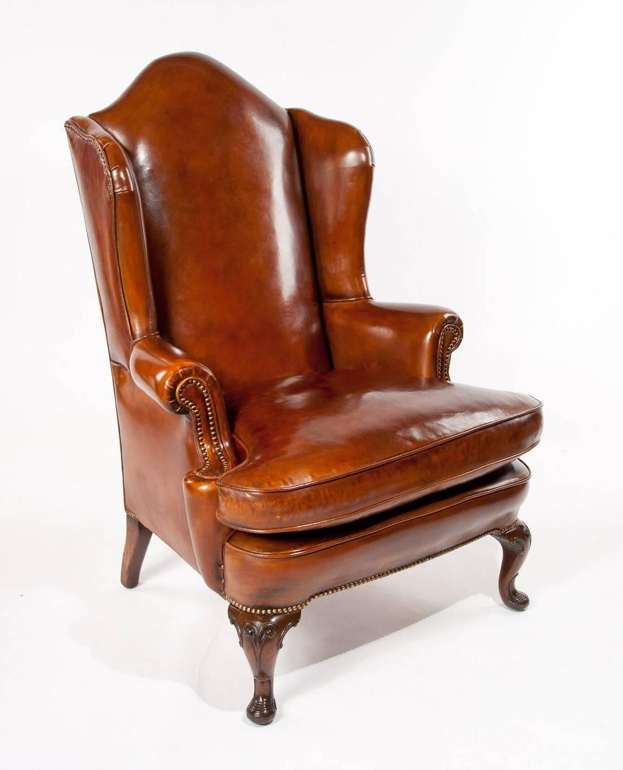 Superb Antique Walnut Leather Wingback Armchair, Mid19th