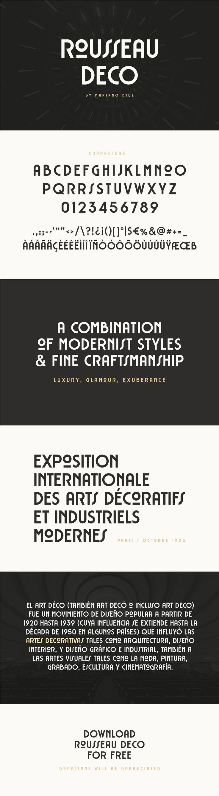 Rousseau Deco Free Display Font On Behance Art Deco Typography Art Deco Font Art Nouveau Poster