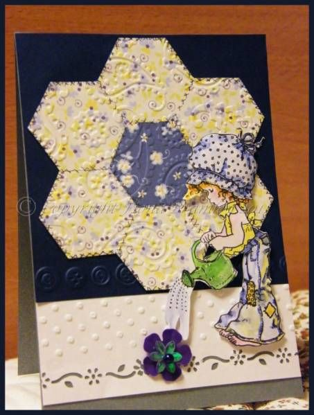 Grandmother 39 s flower ltgarden variation using hexagons especiall quilt cards pinterest for Grandmother flower garden quilt pattern variations