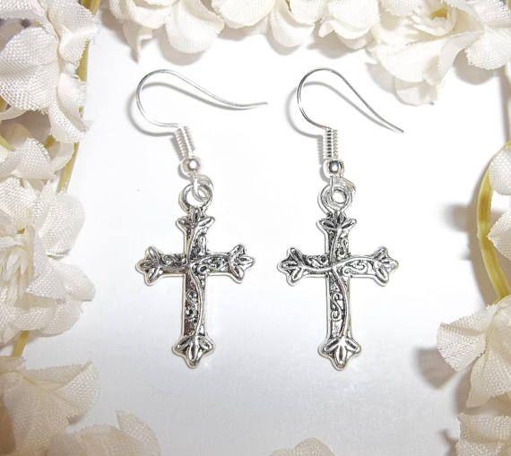 Silver Cross Earrings Dangle Uni Drop Religious Church