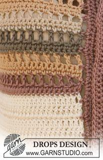 """DROPS 118-28 - Crochet DROPS jacket with stripes in """"Muskat"""". SIZE S - XXXL - Free pattern by DROPS Design"""