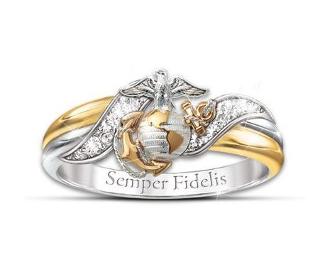 Usmc Embrace Diamond Women S Ring With Sculpted Marine Corps Emblem Marine Corps Jewelry Ladies Diamond Rings Crystal Necklace Pendant