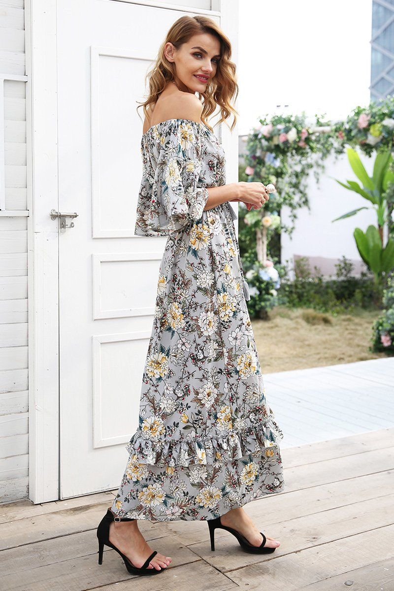 f89a1ce40ec7 Off Shoulder Long Dress Summer long dress women High waist ruffle maxi dress  Elegant boho dress female vestidos 2018 Material  Viscose Style  Bohemian  ...