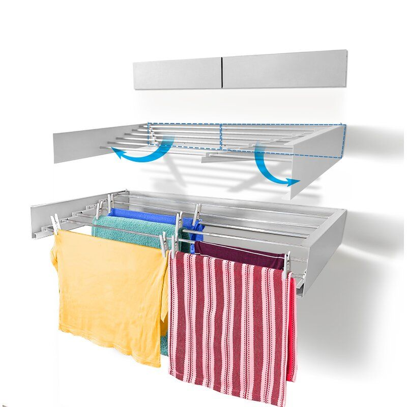 Laundry Wall Mounted Drying Rack In 2020 Wall Mounted Drying Rack Wall Clothes Drying Rack Laundry Drying Rack Wall