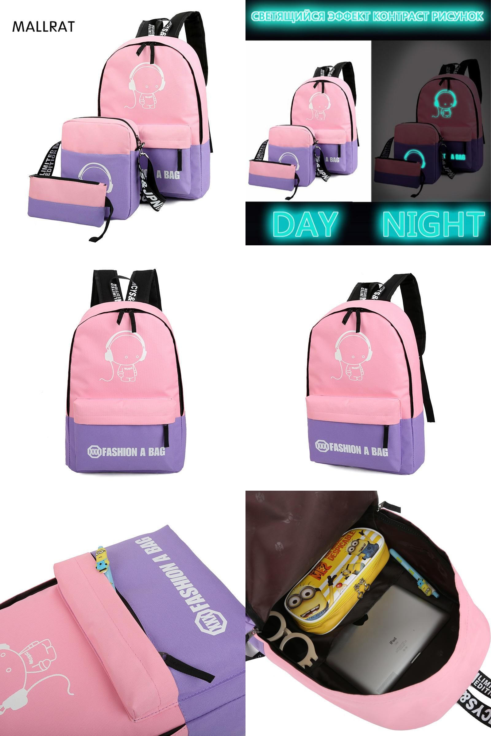 visit to mallrat 3 pca sets girl luminous women backpacks