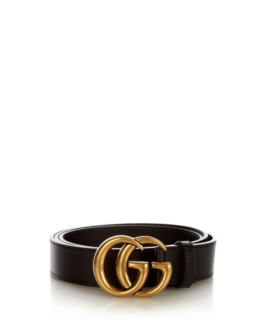 42fb105980d4 Men's Black Gg-logo Leather 3cm Belt | G | Gucci gg belt, Gucci ...