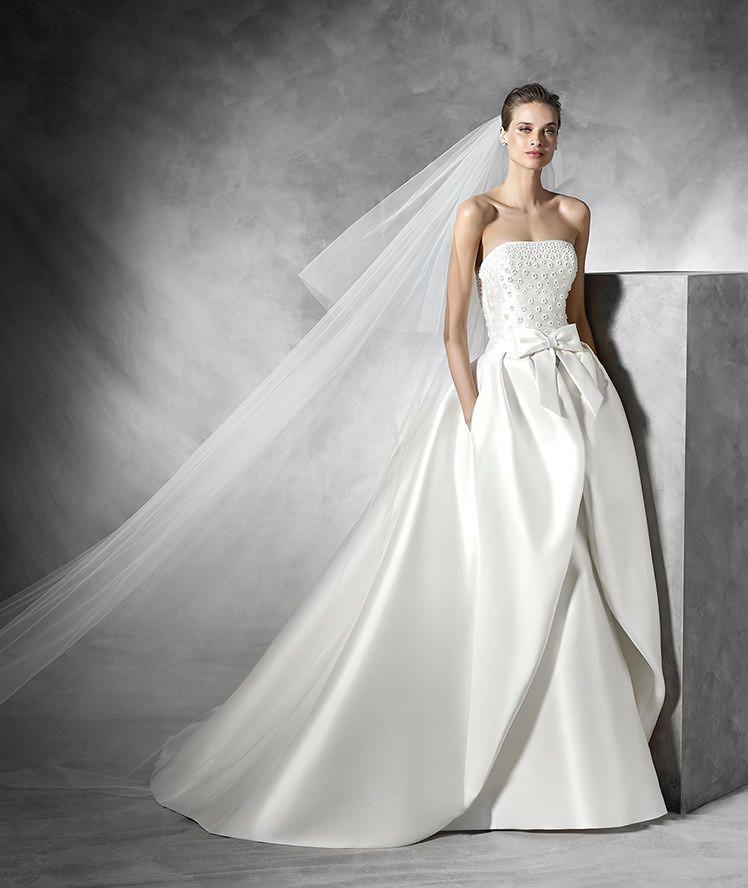 traza - vestido de novia original con escote palabra de honor